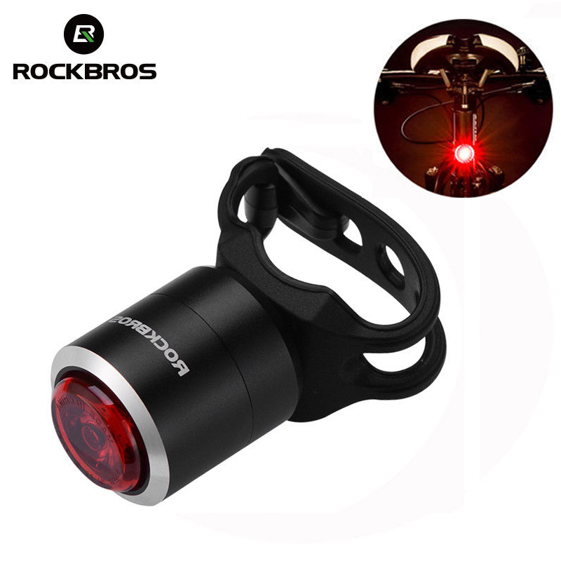 ROCKBROS Waterproof Smart Bike Bicycle Light USB Rechargeable IPX5 Taillight Mini LED MTB Road Bike Cycling Rear Lamp 5 Lumens outerdo 1 pair ipx5 waterproof intelligent mtb cycling light led bicycle hub light smart rechargeable bike wheel spoke diy light
