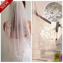 Real fotos 2015 elegante branco / marfim cintura curto uma camada de noiva véu comprimento com pente de casamento acessórios MD3091(China (Mainland))