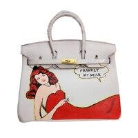 Graffiti FAI DA TE Personalizzato 30 35 cm Top sacchetto di Mano borse Dipinte pittura Rosso vestiti Donna Totes Borsa hardware Oro A Vetrate Femminile borse