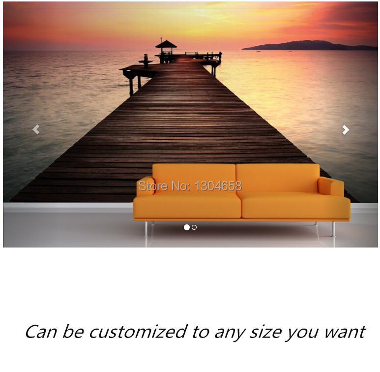 Free shipping custom mural Sunset Jetty Wall Mural large bedroom, living room TV backdrop wallpaper free shipping england wind red white blue fashion backdrop tv backdrop bedroom living room mural wallpaper
