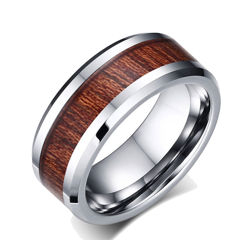 Wood Tungsten Carbide Ring Mens Wood Inlay Wedding Band