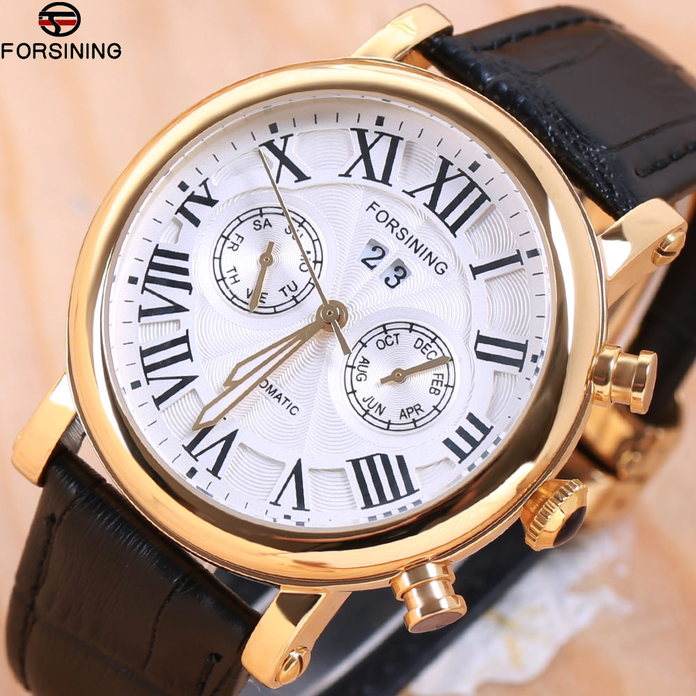 Top Luxury Mens Automatic Mechanical Watches Men FORSINING Leather Strap Watch Male Fashion Casual Business Clock reloj hombreTop Luxury Mens Automatic Mechanical Watches Men FORSINING Leather Strap Watch Male Fashion Casual Business Clock reloj hombre