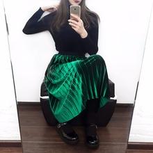 ELEXS 2017 Autumn Winter Fashion Skirt High Waist Velvet Pleated Skirt Women Solid Elastic Waist Skirt