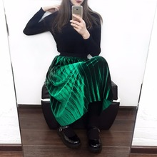 ELEXS Autumn Winter Fashion Skirt High Waist Velvet Pleated Skirt Women Solid Elastic Waist Spring Long
