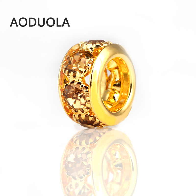 3 Pcs a Lot Pure Gold Col Alloy Beads whit Zircon bead DIY Big Hole Metal Spacer Bead Charm Fit For Pandora Charms Bracelet