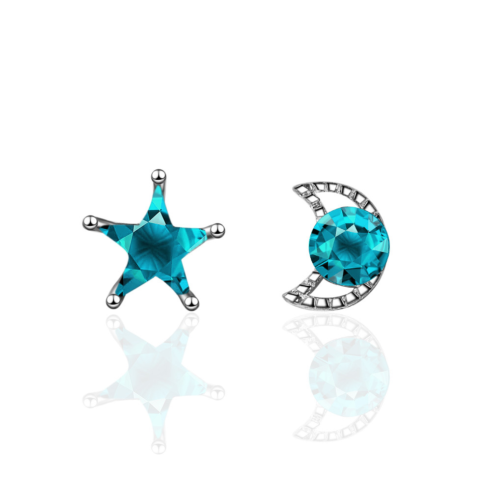 100 925 sterling silver moon amp star blue crystal asymmetric ladies 39 stud earrings female birthday gift wholesale women jewelry in Stud Earrings from Jewelry amp Accessories