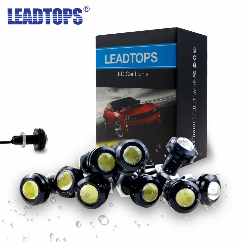 LEADTOPS Car Styling 10Pcs DRL LED 18/23mm Eagle Eyes Daytime Running Light Led Car Work Lights Source Waterproof fog Lamp bE leadtops car led lens fog light eye refit fish fog lamp hawk eagle eye daytime running lights 12v automobile for audi ae