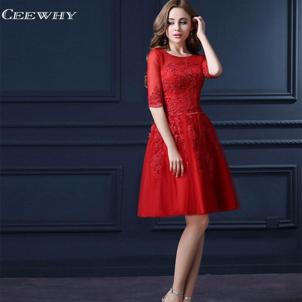 CEEWHY חצי שרוול רקמת שמלות נשף קצר שמלת קוקטייל באורך הברך לבוש הרשמי גלימה אלגנטית Cocktial שמלות 2018