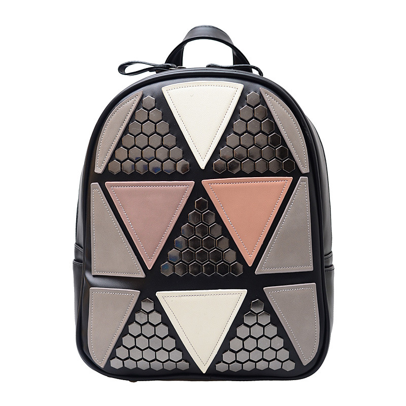 Women Preppy Style Backpack Geometric Patchwork Female School Bags High Quality Pu Leather Daypacks For Teenagers Girls Mochila