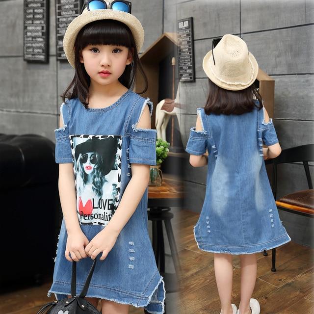 bf453c5086 Kids Dresses for Girls Denim Dress Summer Beauty Pattern Fashion Girls  Birthday Party Princess Mini Ripped Denim Dress 4-14ages