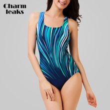 купить Charmleaks Women One Piece Swimwear Geometry Print Swimwear Women Colorblock Swimsuit Bathing Suit Monokini Bikini по цене 409.68 рублей