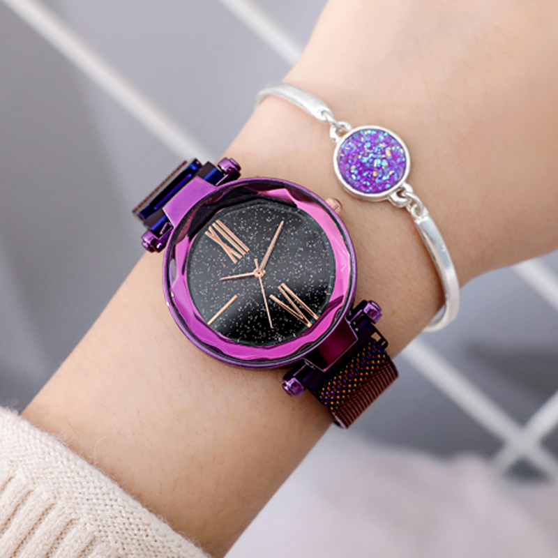 Uhr Frauen Luxus Frauen Uhren Rose Gold Damen Handgelenk Uhren Mode Casual Starry Sky Magnetische Uhr Wasserdicht reloj mujer