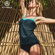 Attraco Tankini Set Women Swimwear Retro Floral Print Swimsuit Padded Bathing Suit Summer Beachwear Bikini