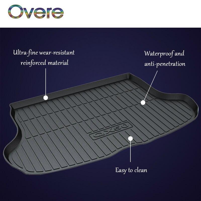 цена на Overe 1Set Car Cargo rear trunk mat For Infiniti QX50 Q50L styling Boot Liner Tray Waterproof carpet Anti-slip mat Accessories