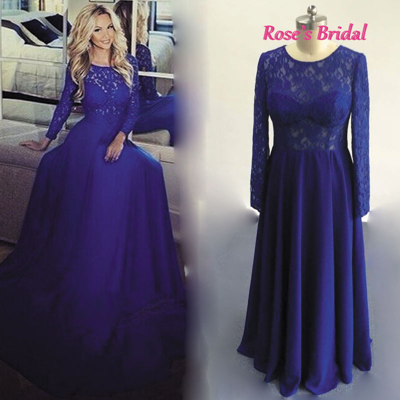Popular Royal Blue Chiffon Long Sleeves Prom Dress Scoop-Buy Cheap ...