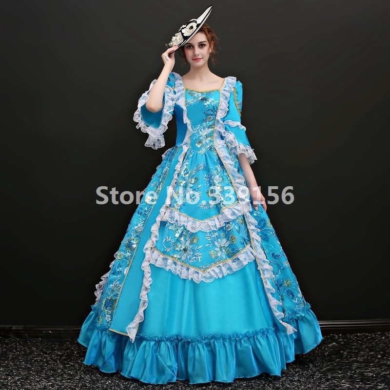 Upscale Victorian Blue Ball Gown Costume Medieval Gowns Marie Antoinette Printing Dress Historical Gown