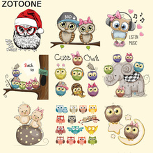 ZOTOONE Cute Owl Iron on Patches for Kids Clothes Heat Transfer Cartoon Animal Patch Washable Stickers DIY Accessory Appliques