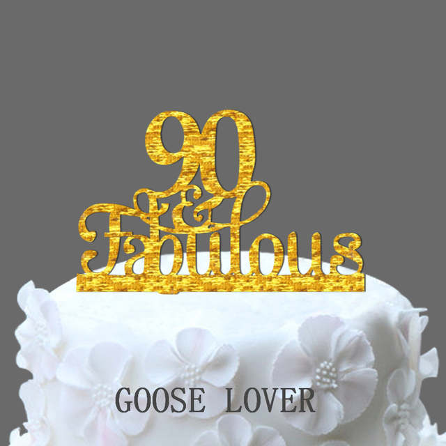 Placeholder 90th And Fabulous Cake Topper Birthday Party Decoration Acrylic