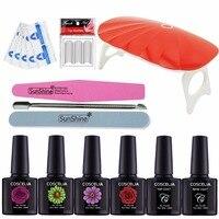 Manicure Set Nail Gel Polish Set Kit Base Gel Top Coat Remover Wraps 4 Colors Polish