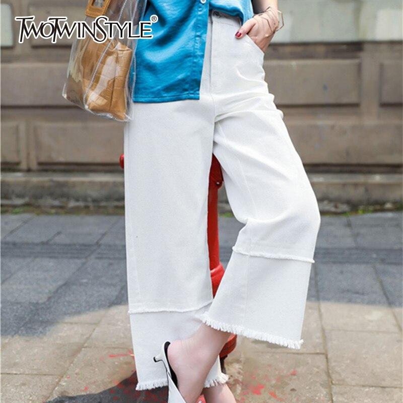 TWOTWINSTYLE белые джинсы женские Высокая Талия молния лоскутное большой Размеры длинные широкие брюки для Для женщин Летняя мода Повседневное ...