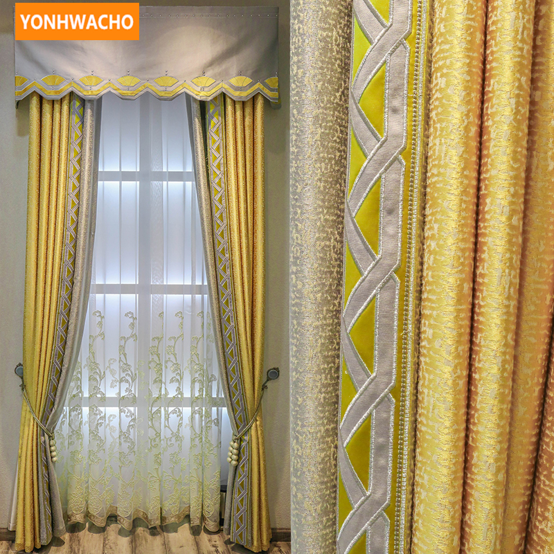 Custom curtains high quality  luxury European chenille solid gold thick  cloth blackout curtain tulle valance drape N739Custom curtains high quality  luxury European chenille solid gold thick  cloth blackout curtain tulle valance drape N739