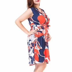 Summer New Flower Print Sleeveless Dress Women Empire Fit and Flare Dresses Plus Size L-3XL Fashion Vestidos Femme 3