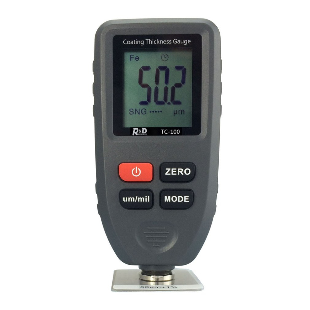 TC100 Digital Thickness Gauge Coating Meter Portable Thickness Meter Thickness Tester Measuring Range 0~1300um Backlight