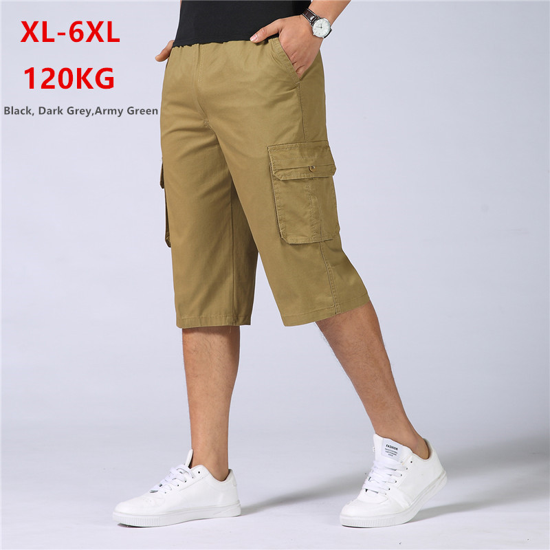 Men Shorts Summer Long Short Cargo Cotton Mens Homme Spodenki Meskie Ete Hip Hop Plus Size 5XL 6XL Casual Man Army Half Trousers