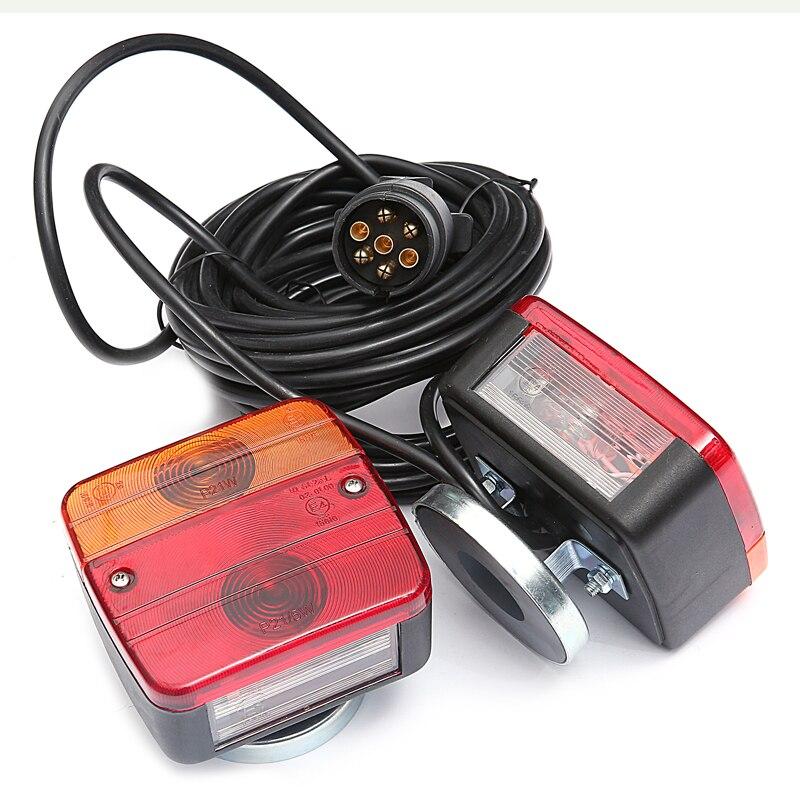 Lampes de remorque-2 Kits de câbles de feux arrière à ampoule indicateur avec plaque d'immatriculation ensemble de feux arrière de camion avec support magnétique