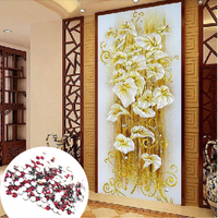 5D DIY Diamond Painting Crystal Lily Flower 3D Cross Stitch Decorative Needlework Embroidery Full Round Rhinestone
