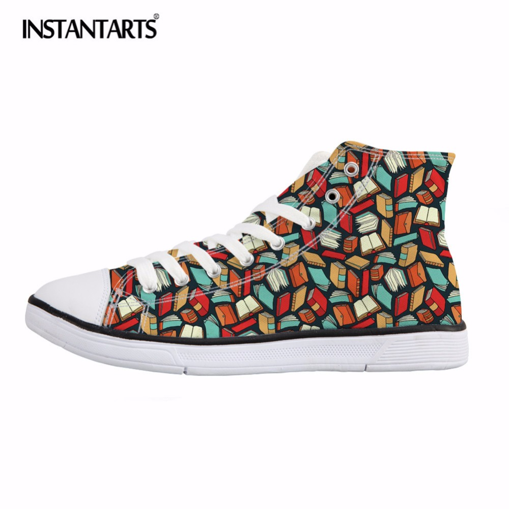 INSTANTARTS Fashion High Top Vulcanize Shoes Women Book Lovers Print Female Canvas Shoes Comfort Sneakers Girls Flat Shoes Mujer
