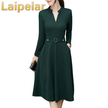 Elegant Midi Dress Women Autumn 2018 New Fashion Plus Size Black Red Green Long Sleeve V Neck Slim Ladies Dresses