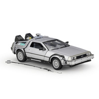 WELLY 1:24 Simulation Classic Movie Back to The Future 1&3 DMC 12 Delorean Model Toy Car Metal Diecast Car Kid Gifts Collection