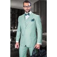 Custom Made New Style Mint Green Men Suits Slim Fit 3 Pieces Tuxedo Wedding Groom Prom Suits Blazer (Jacket+Vest+Pants)