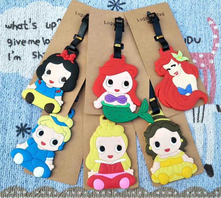 Disney Princess Kartun Perjalanan Aksesoris Travel Bagasi Beku Koper ID Alamat Portable Label Liontin Elsa Boneka