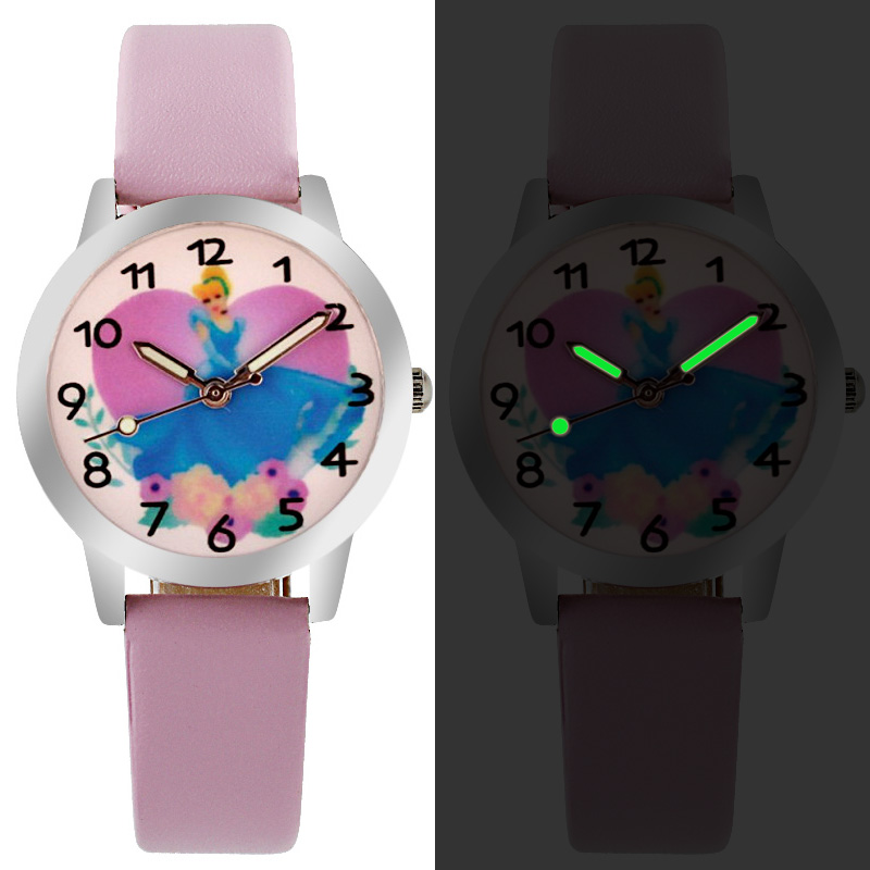 Hot Selling Children Cute Princess Dial Quartz Watch Snow White Girl Cartoon Birthday Party Gift For Kids Watch Pointer Luminous