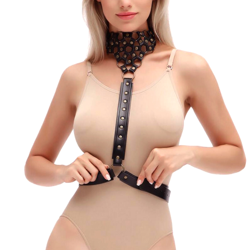 New Black leather Choker Harness belt Body metal Chain hollow Necklace Womens Sexy Bra gothic body Harness belt Bondage Cage bra