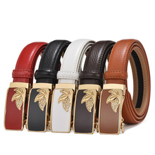 2.4cm women belt leather Three leaves simple slender waist automatic buckle fashion casual cowhide off white luxury brand