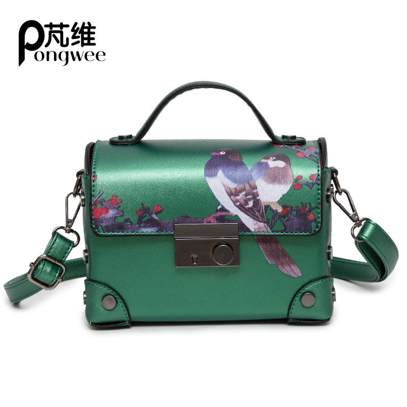 PONGWEE Small Box Europe and the United States Fashion Flowers and Birds Printing Handbag Shoulder Bag Unilateral Messenger Bag aetoo europe and the united states fashion shoulder bag oil wax canvas with crazy horse bag waterproof messenger bag men and wom