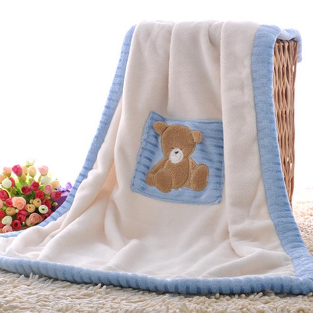 Bordado de coral polar manta de bebé al por mayor de dibujos animados bebé niños manta de poliéster de espesor de terciopelo súper suave cubierta de paseo