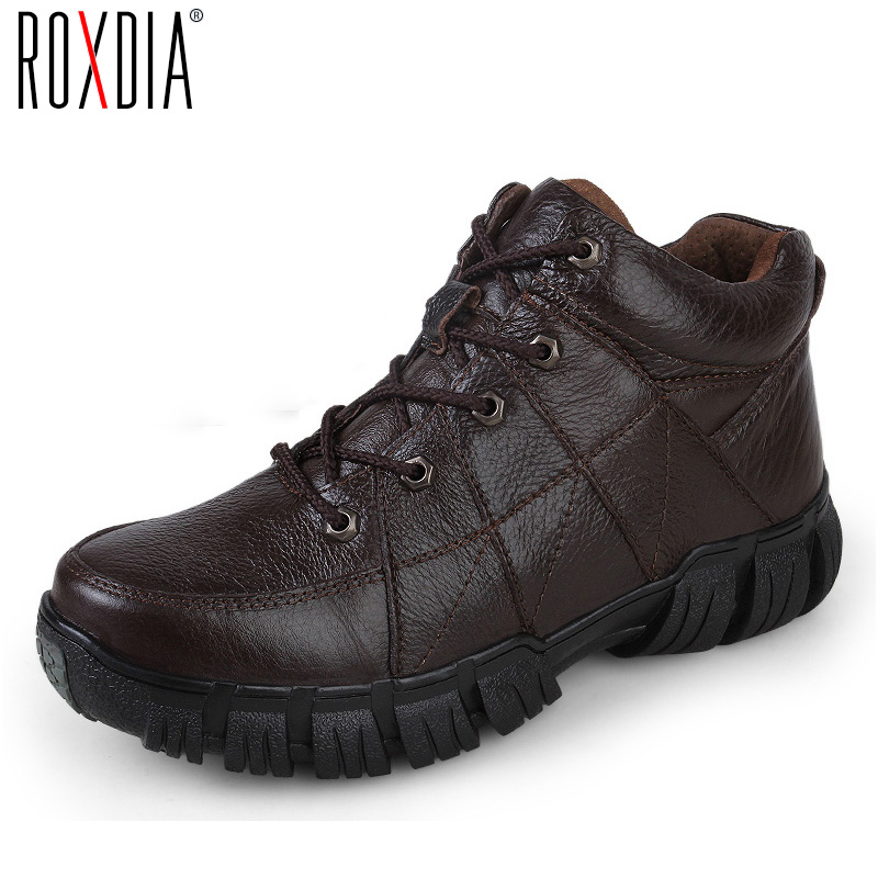 ROXDIA New Fashion Genuine Leather Winter Men Ankle Boots Man Warm Snow Boot Fur Work Lace-up Shoes Plus Size 39-44 RXM474 men boots 2015 men s winter warm snow boots genuine leather boots with plus velvet shoes high quality men outdoor work shoes