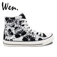 Wen Custom Abstract Painting Death Skull Design Hand Painted Black Sneakers High Top Adults Canvas Skateboard