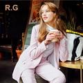 RG На Заказ Брюки Костюмы Работать Бизнес Формальные Элегантных Женщин Костюм Набор Розовый Бежевый Офисные Дамы Пиджак Брюки Костюмы 2017