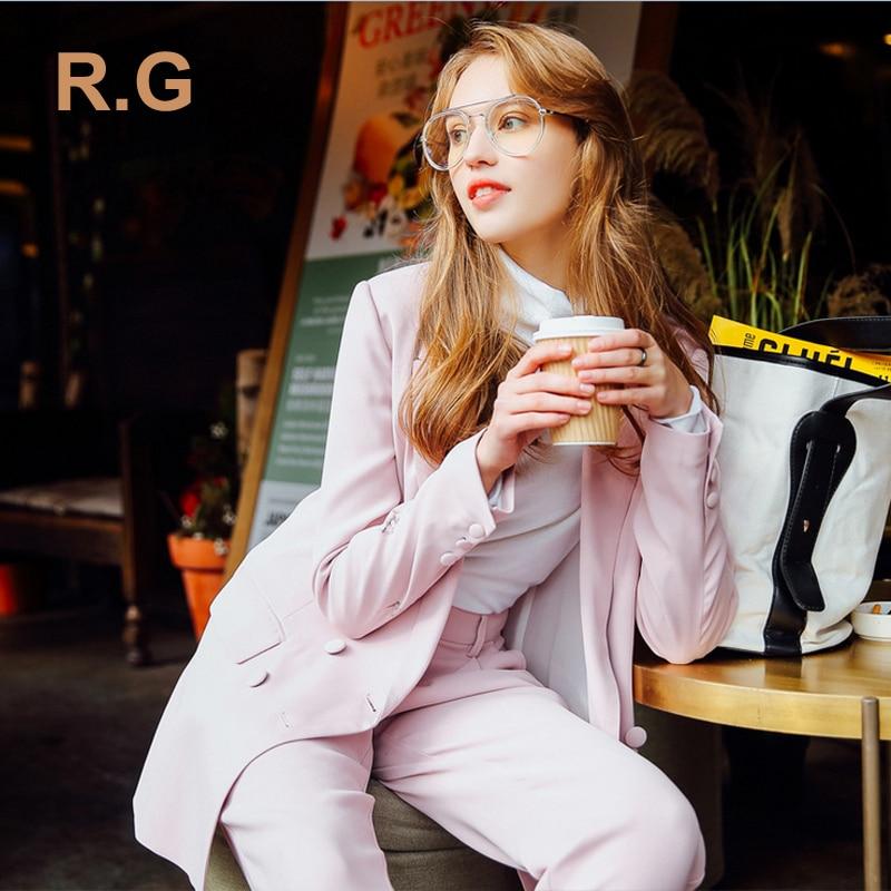 RG Custom Made Pants Suits Work Bussiness Formal Elegant Women Suit Set Pink Beige Office Ladies Blazer Trousers Suits 2017