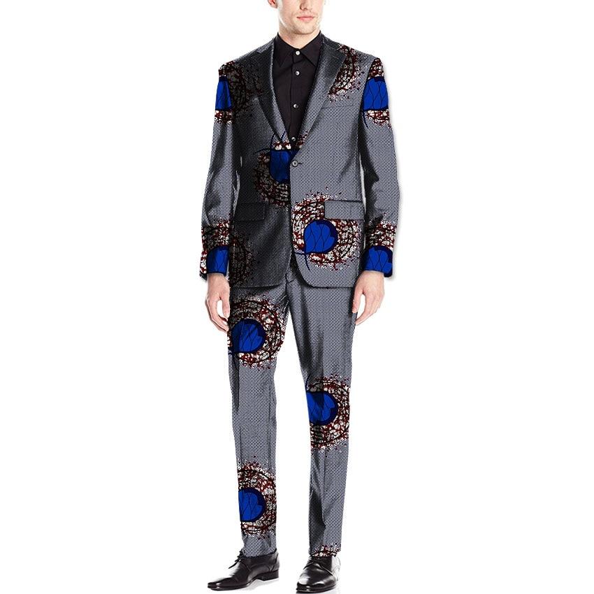 African men blazer+pant sets dashiki fashion ankara print african suit tailor made africa clothing