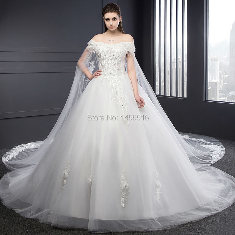 1866aa1689 Real Photo Bridal Gown Off shoulder Lace Up beaded Long Watteau ...