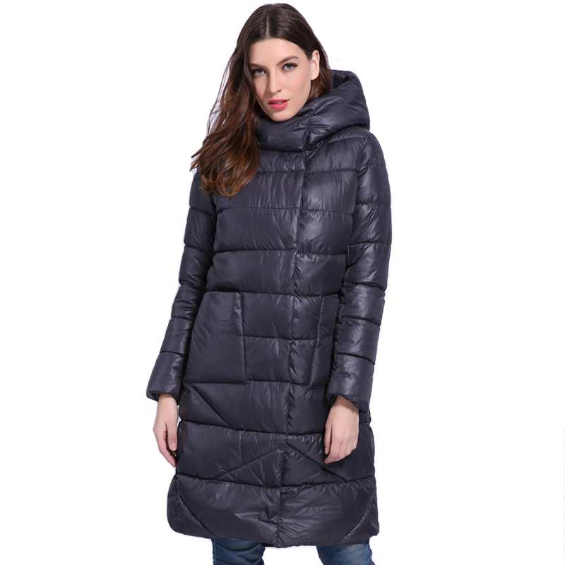 Winter Women   Down   Jacket Hooded Padded Thicken Female   Down     Coat   European Style Solid Black Womens Parka Parkas