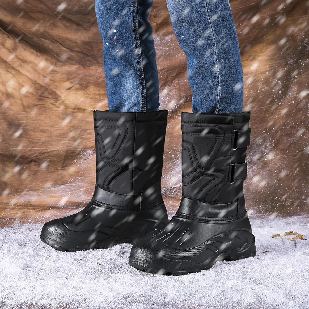 Times New Roman Super Warm Men Winter Boots for Men Warm Waterproof Rain Boots Shoes Men's Ankle Snow Boots Plus size 40~46