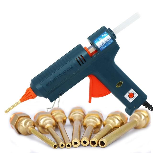 Boquilla de pistola de pegamento de fusión en caliente, larga de cobre de 150W, temperatura ajustable para barras de pegamento de 11mm, pistola de pegamento adhesiva industrial profesional