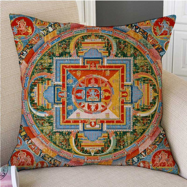 Us 6 79 13 Off 18 Tibetan Buddhism Mandala Wall Painting Art Worship Decorative Pillow Case Mysterious Antique Buddhist Cultural Cushion Cover In
